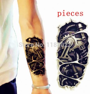 Temporary-font-b-tattoo-b-font-sticker-3D-tatoo-black-mechanical-arm-fake-transfer-stickers-hot