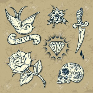 21355461-Set-of-Old-School-Tattoo-Elements-with-roses-and-diamonds-Stock-Vector